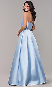 Image of long a-line strapless prom dress with pockets.  Style: CLA-3739 Back Image