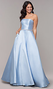 Image of long a-line strapless prom dress with pockets.  Style: CLA-3739 Detail Image 3