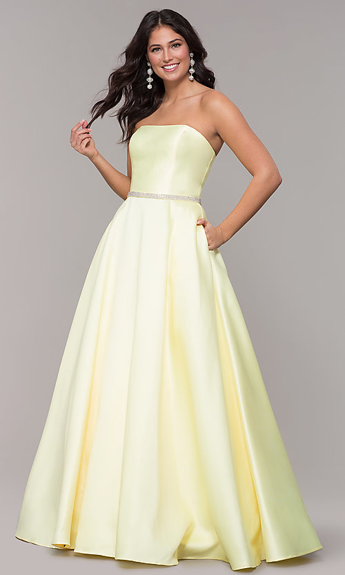 Image of long a-line strapless prom dress with pockets.  Style: CLA-3739 Detail Image 7