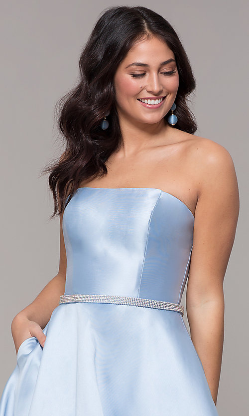 Image of long a-line strapless prom dress with pockets.  Style: CLA-3739 Detail Image 1