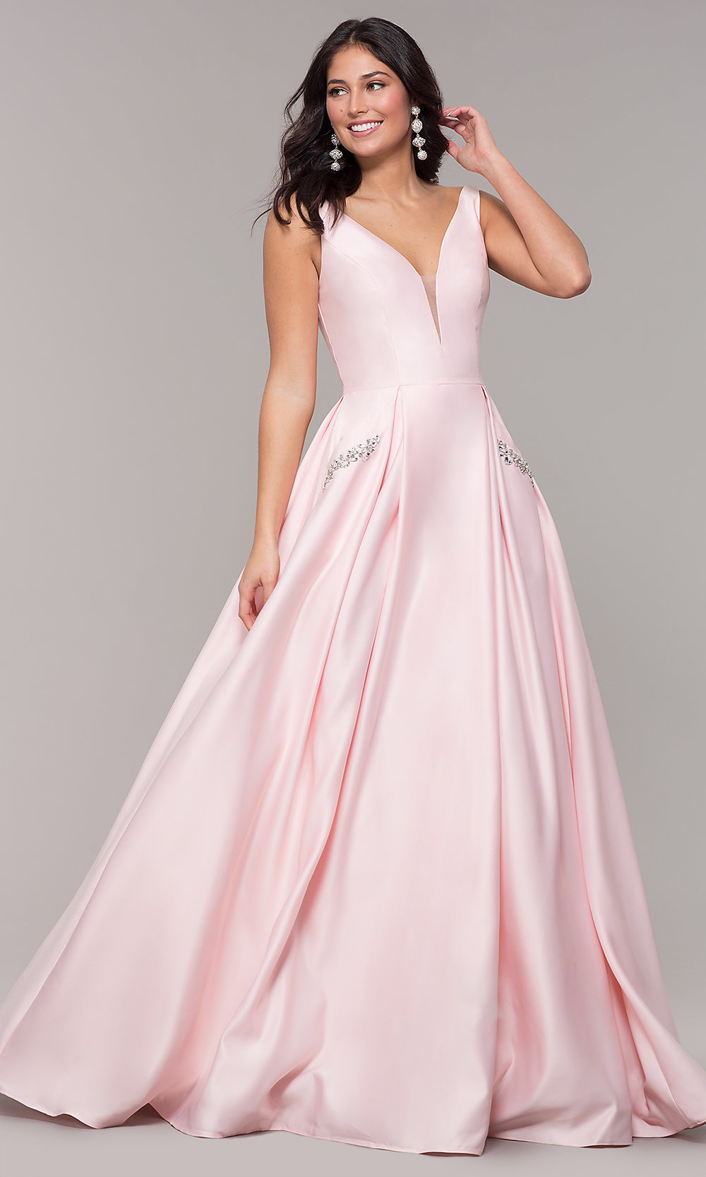 4aa3cef5b5 Serenade Tiffanys Tia Pale Pink Prom Dress 4 229 00. Tap To Expand. Long  Ballgown Style V Neck Prom Dress