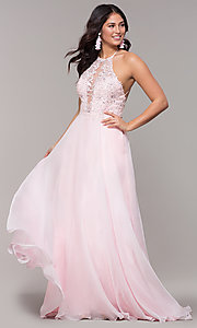 Image of light pink long prom dress with embroidered lace. Style: CLA-3757 Front Image