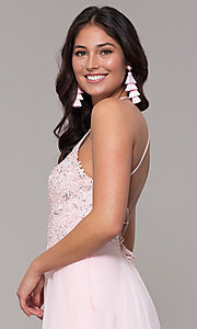 Image of light pink long prom dress with embroidered lace. Style: CLA-3757 Detail Image 2