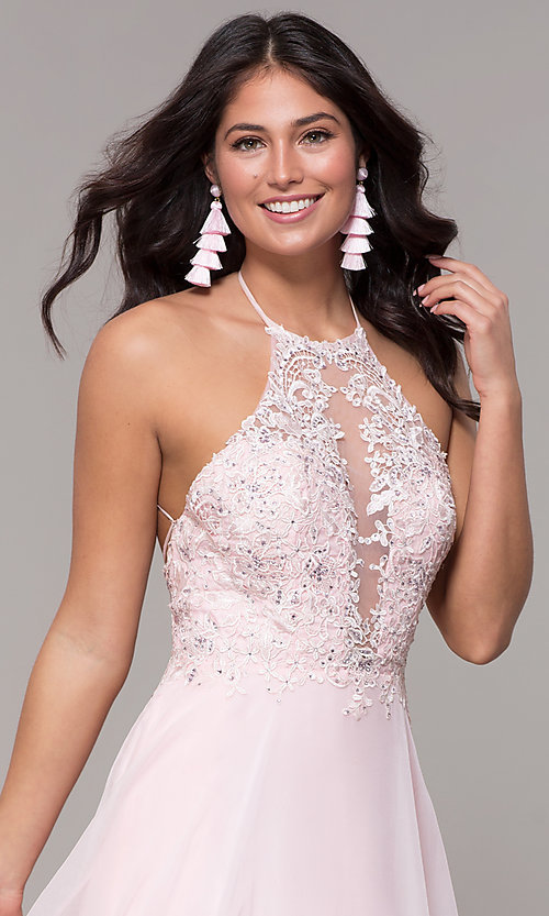 Image of light pink long prom dress with embroidered lace. Style: CLA-3757 Detail Image 1