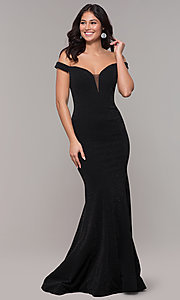 Image of sparkly off-the-shoulder long mermaid prom dress. Style: CLA-3788 Front Image