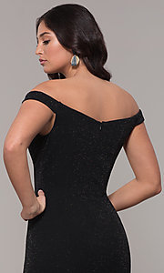 Image of sparkly off-the-shoulder long mermaid prom dress. Style: CLA-3788 Detail Image 2
