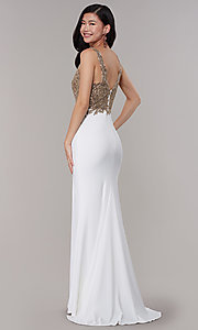 Image of jersey long formal prom dress with sheer bodice. Style: FA-10204 Back Image