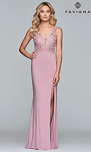 Image of jersey long formal prom dress with sheer bodice. Style: FA-10204 Front Image