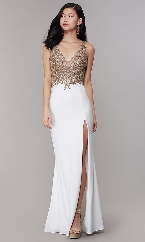 Image of jersey long formal prom dress with sheer bodice. Style: FA-10204 Detail Image 3
