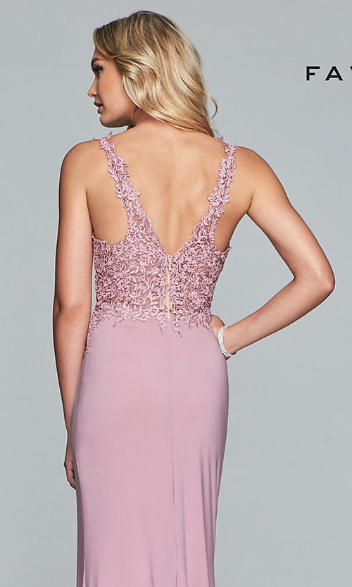 Image of jersey long formal prom dress with sheer bodice. Style: FA-10204 Detail Image 2