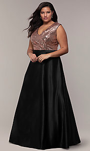 Image of sequin-bodice two-tone long plus-size prom dress. Style: SC-PL-PG-A Front Image