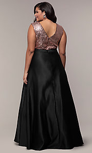 Image of sequin-bodice two-tone long plus-size prom dress. Style: SC-PL-PG-A Back Image