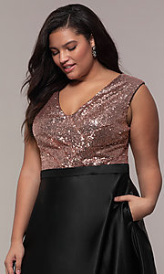 Image of sequin-bodice two-tone long plus-size prom dress. Style: SC-PL-PG-A Detail Image 1