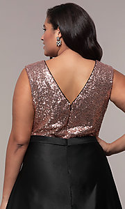 Image of sequin-bodice two-tone long plus-size prom dress. Style: SC-PL-PG-A Detail Image 2