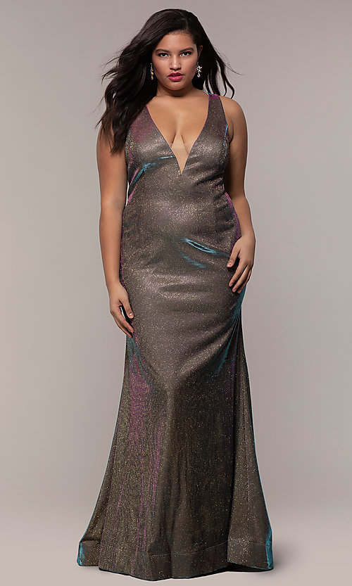 Long Iridescent V-Neck Plus-Size Prom Dress - PromGirl