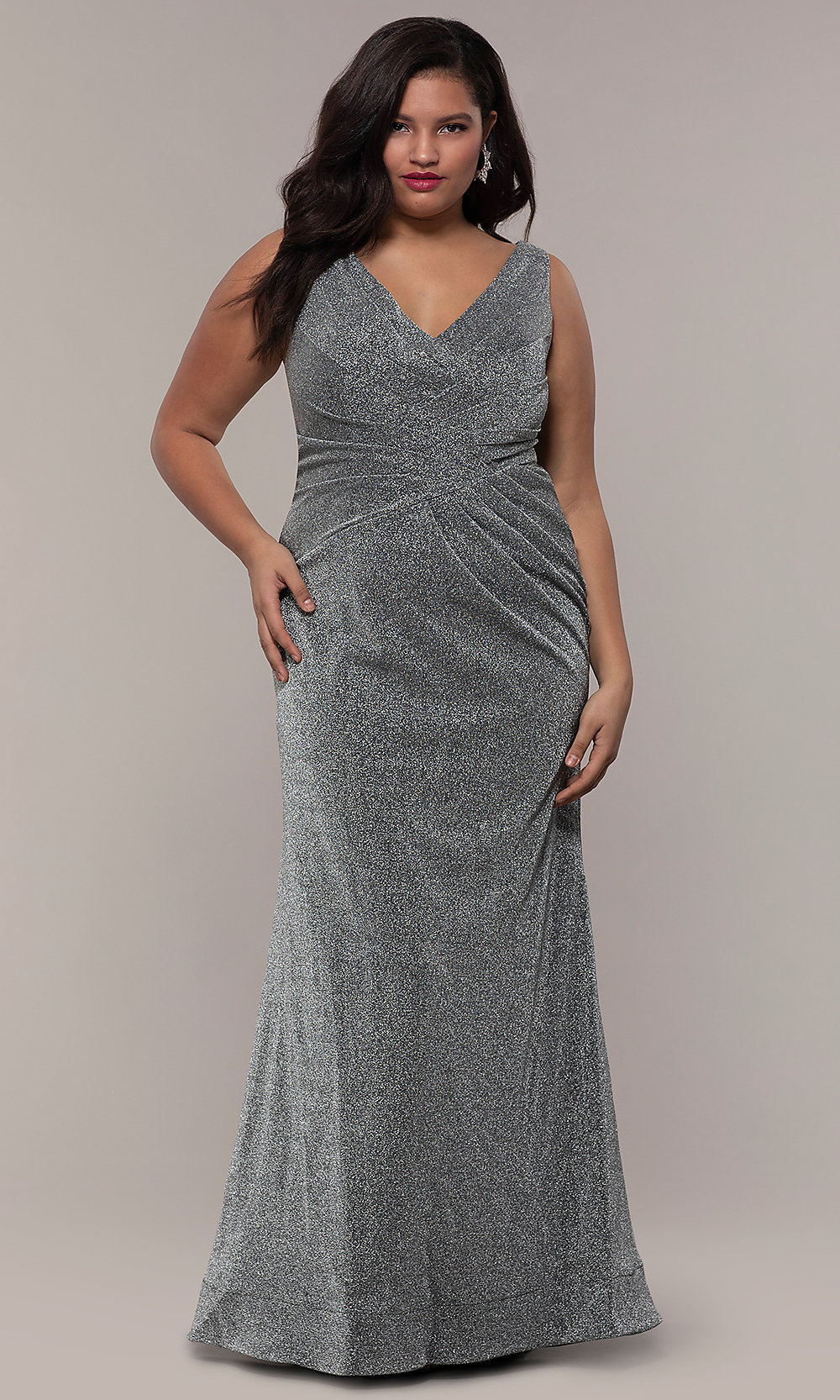 Glitter-Knit Plus-Size Long Prom Dress by PromGirl