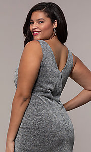 Image of glitter-knit plus-size long prom dress by PromGirl. Style: SC-PL-PG-C Detail Image 2