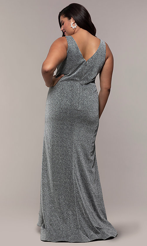 Image of glitter-knit plus-size long prom dress by PromGirl. Style: SC-PL-PG-C Back Image