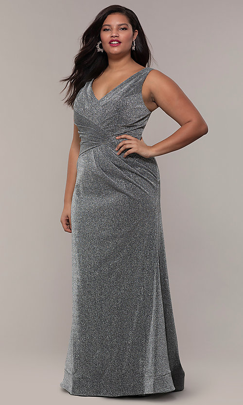 Image of glitter-knit plus-size long prom dress by PromGirl. Style: SC-PL-PG-C Detail Image 3