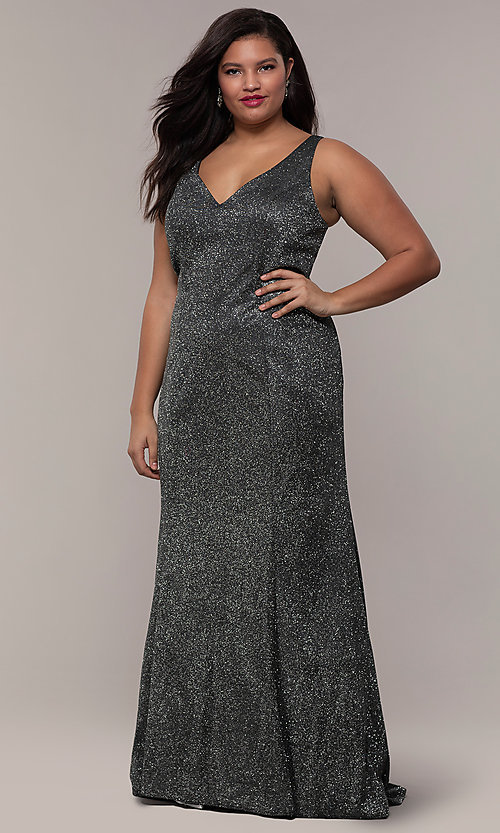 Image of glitter-knit long plus-size prom dress by PromGirl. Style: SC-PL-PG-D Front Image