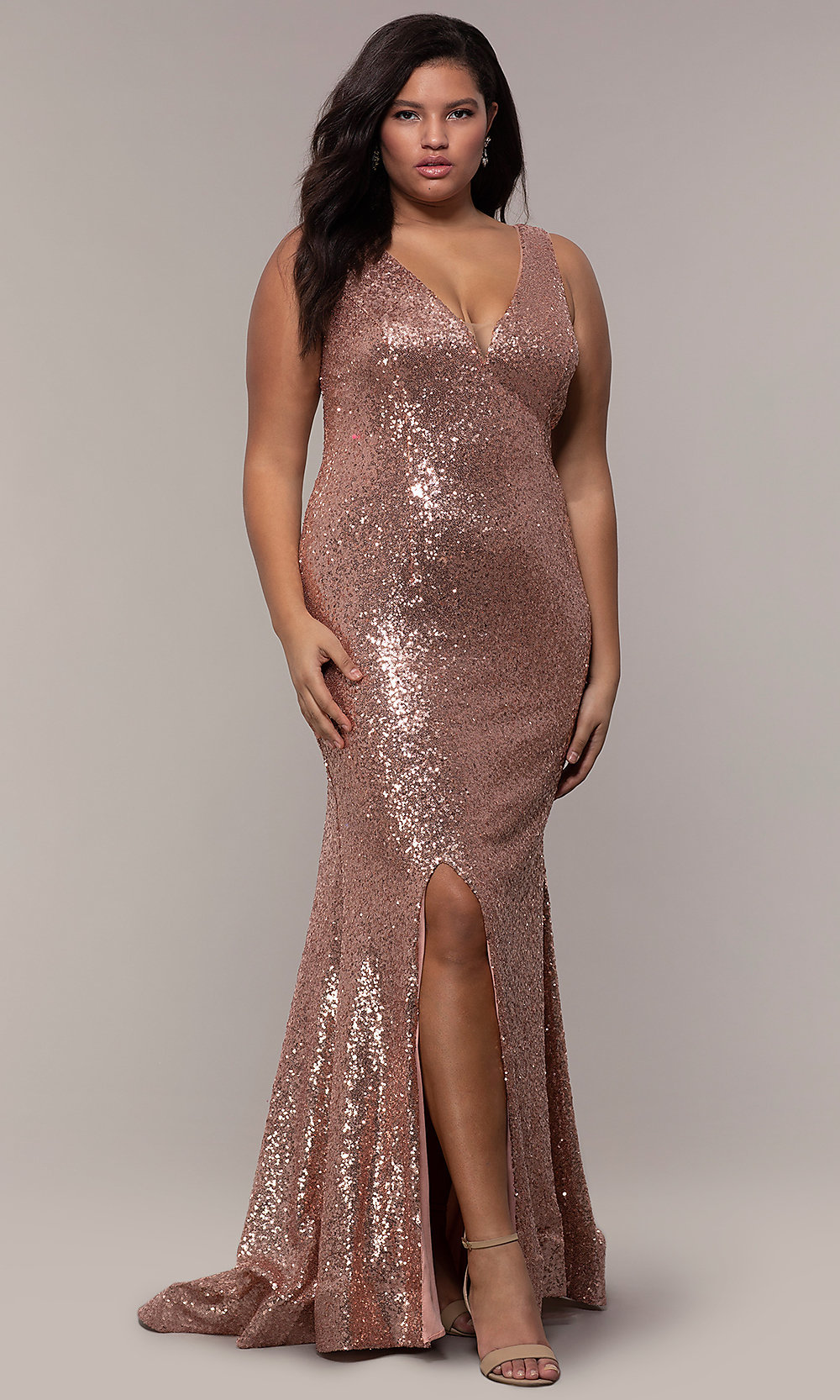 Long Sequin V-Neck Plus-Size Formal Dress - PromGirl