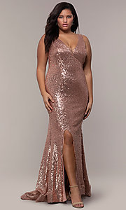 Image of long sequin plus-size formal dress by PromGirl. Style: SC-PL-PG-E Front Image