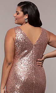 Image of long sequin plus-size formal dress by PromGirl. Style: SC-PL-PG-E Detail Image 2