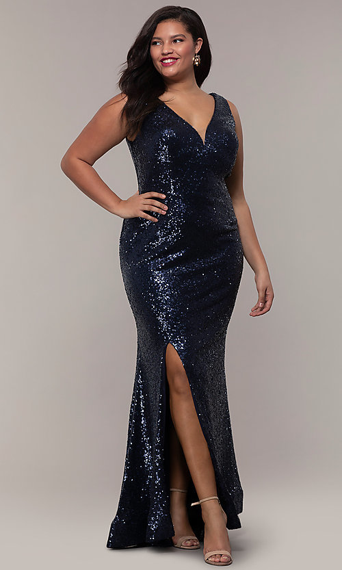 Image of long sequin plus-size formal dress by PromGirl. Style: SC-PL-PG-E Detail Image 4