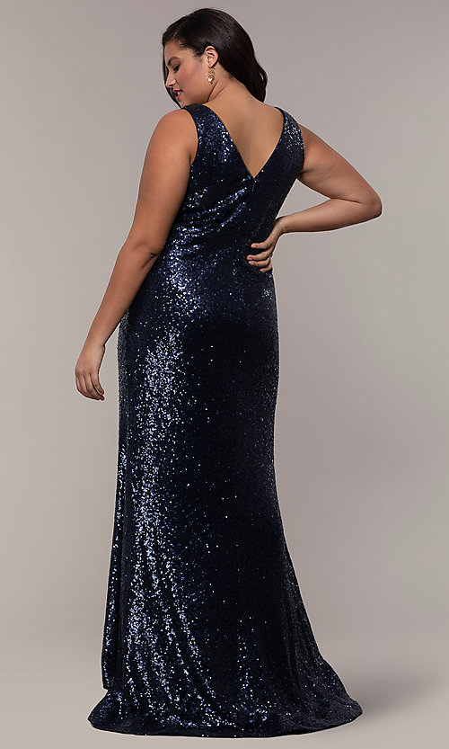 Image of long sequin plus-size formal dress by PromGirl. Style: SC-PL-PG-E Detail Image 5