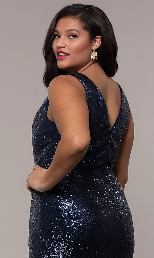 Image of long sequin plus-size formal dress by PromGirl. Style: SC-PL-PG-E Detail Image 7