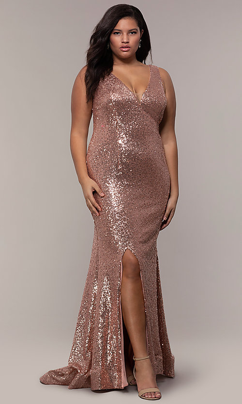 2ecda8522ba Image of long sequin plus-size formal dress by PromGirl. Style  SC-