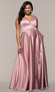 Image of long a-line v-neck plus-size prom dress by PromGirl. Style: SC-PL-PG-F Detail Image 4