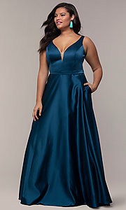 Image of long a-line v-neck plus-size prom dress by PromGirl. Style: SC-PL-PG-F Front Image