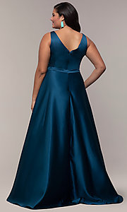 Image of long a-line v-neck plus-size prom dress by PromGirl. Style: SC-PL-PG-F Back Image
