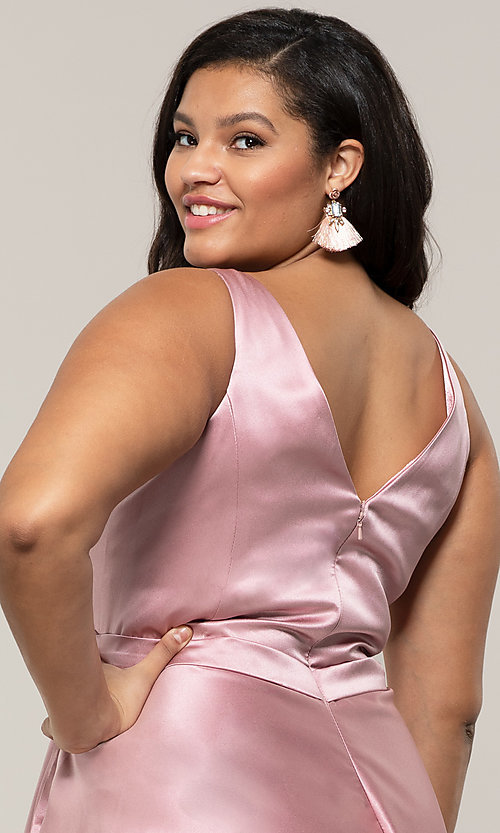 Image of long a-line v-neck plus-size prom dress by PromGirl. Style: SC-PL-PG-F Detail Image 7