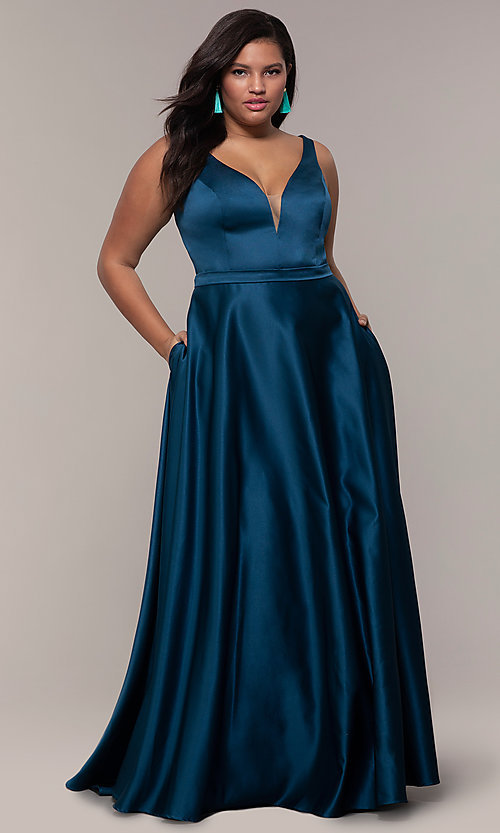 Image of long a-line v-neck plus-size prom dress by PromGirl. Style: SC-PL-PG-F Detail Image 3