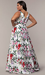 Image of long floral-print plus-size prom dress by PromGirl. Style: SC-PL-PG-G Back Image