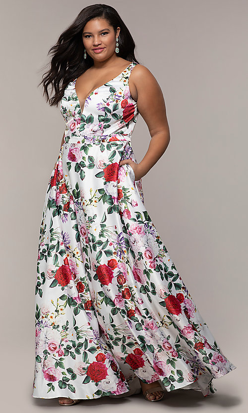 Image of long floral-print plus-size prom dress by PromGirl. Style: SC-PL-PG-G Front Image