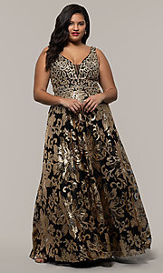 Image of sequin-print plus black prom dress by PromGirl. Style: SC-PL-PG-H Front Image