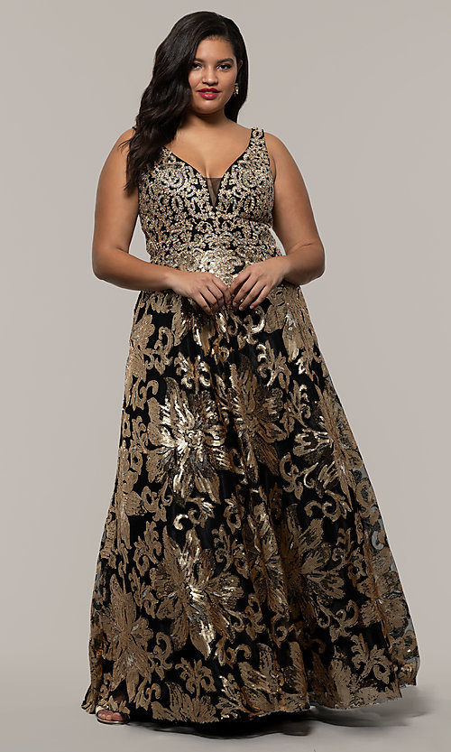 Gold-Sequin-Embroidered Black Plus Prom Dress-PromGirl