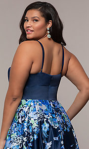 Image of floral plus-size navy blue prom dress by PromGirl. Style: SC-PL-PG-I Detail Image 2