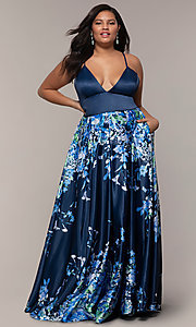 Image of floral plus-size navy blue prom dress by PromGirl. Style: SC-PL-PG-I Detail Image 3