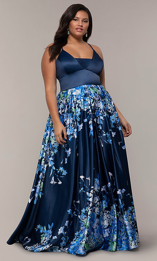 Image of floral plus-size navy blue prom dress by PromGirl. Style: SC-PL-PG-I Front Image