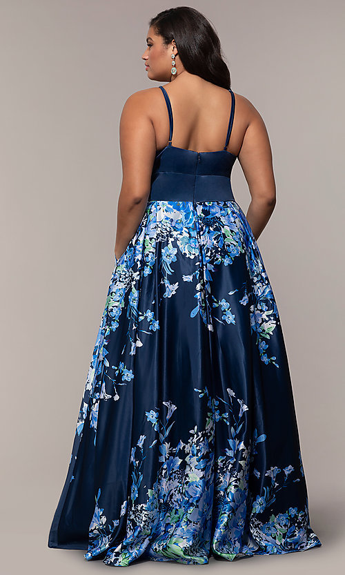 Image of floral plus-size navy blue prom dress by PromGirl. Style: SC-PL-PG-I Back Image