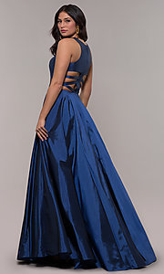Image of twilight blue ball-gown-style long prom dress. Style: FA-10248 Front Image