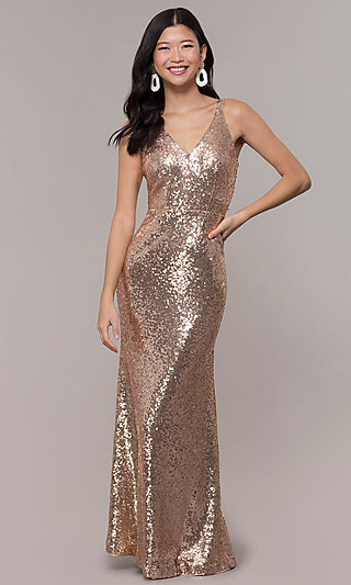 Long Sequin V-Neck Dress for Prom