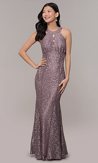 Long Glitter-Lace Mermaid Purple Prom Dress