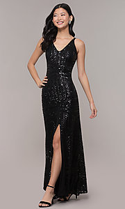 Image of long side-slit sequin-mesh black prom dress. Style: MO-21738 Front Image