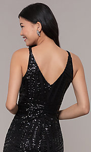 Image of long side-slit sequin-mesh black prom dress. Style: MO-21738 Detail Image 2