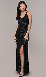 Image of long side-slit sequin-mesh black prom dress. Style: MO-21738 Detail Image 3